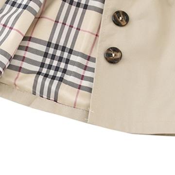 [Trenchcoat Baby Mädchen] Schleife Gürtel Mantel mit Umhang Jacke Baumwolle Frühling Herbst Windbreaker Mode Oberbekleidung Outerwear Khaki S -
