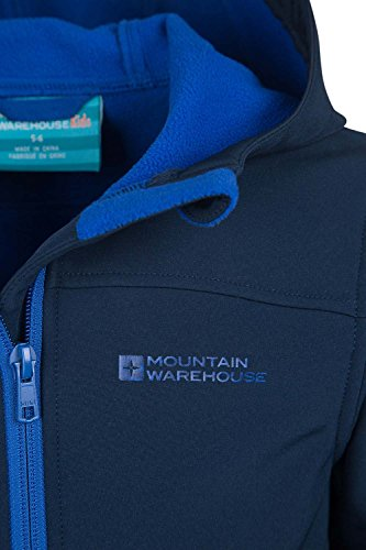 Mountain Warehouse Exodus Kinder Softshell Jacke Wasserdicht Winddicht Oberteil Sport Freizeit Marineblau 116 -
