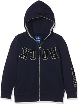 TOM TAILOR Kids Jungen Sweatshirt Hood Jacket with Application, Blau (True Dark Blue 6811), 110 (Herstellergröße: 104/110) -