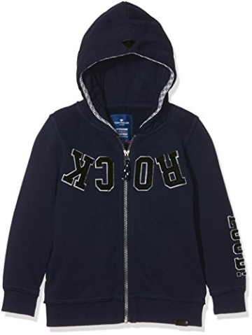 TOM TAILOR Kids Jungen Sweatshirt Hood Jacket with Application, Blau (True Dark Blue 6811), 110 (Herstellergröße: 104/110) -